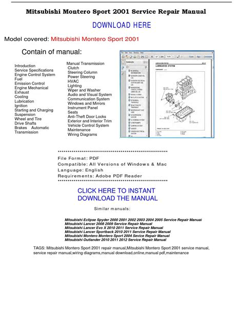 mitsubishi montero 2003 service repair manual pdf download downlo mitsubishi montero sport 2001 repair manual by repairmanualpdf issuu