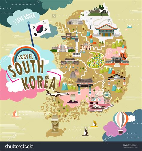 South Korea Address Lookup Lovely South Korea Travel Map In Flat Style Stock Vector Illustration 334159145