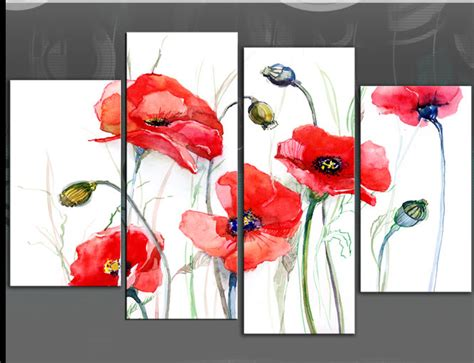 5 poppies painting on white 4 panel floral poppy picture canvas print