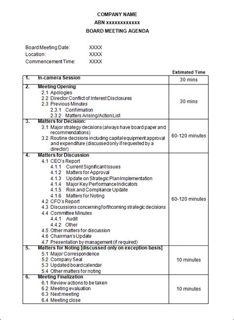agenda template    documents
