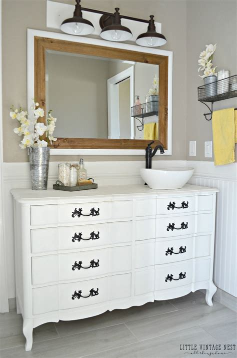 using dresser as bathroom vanity old dresser turned bathroom vanity tutorial