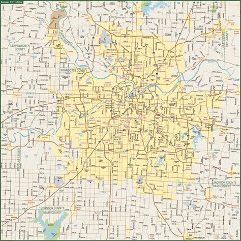 map kansas city kansas city metro map digital vector creative
