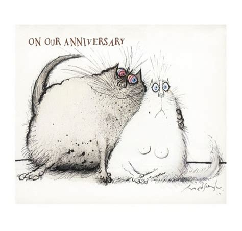 cat cards cat anniversary cards ronald searle cuddling cats card