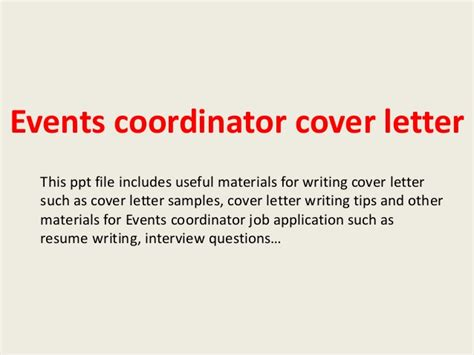 cover letter for event coordinator position events coordinator cover letter