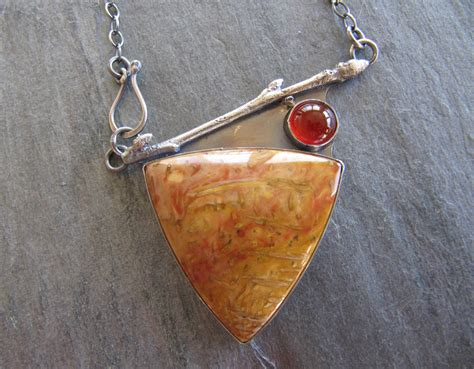 Petrified Wood Pendant With Branches reserved necklace of petrified wood carnelian and cast twig