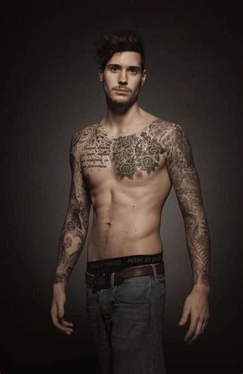 tattooed male models chest tattoos for s ideas