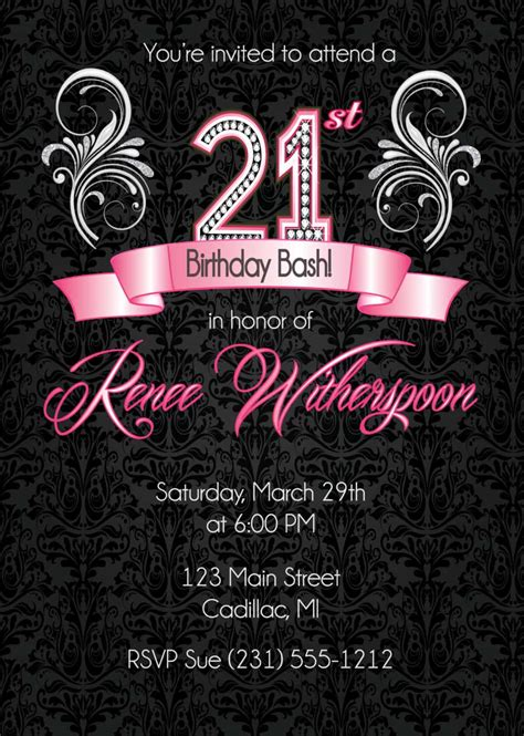 Create 21st Birthday Invitations Free Egreeting Ecards 21st Birthday Invitation Card Template