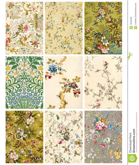 vintage floral collage sheet or tags royalty free stock