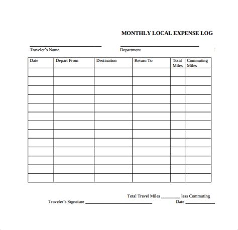 business expense log template sle expense log template 9 free documents in pdf