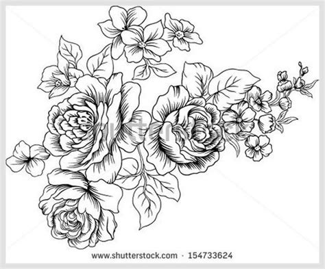 black and white lined design vector with of flowers