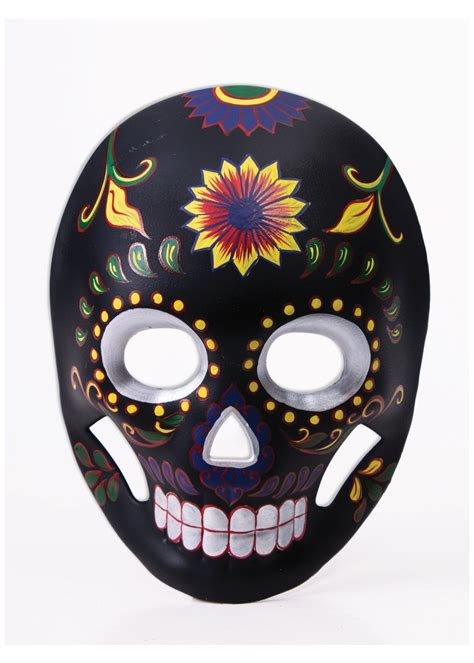 Day Of The day of the dead mask black flower skull masks