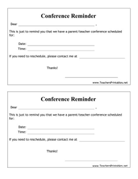 reminder templates for teachers parent conference reminder