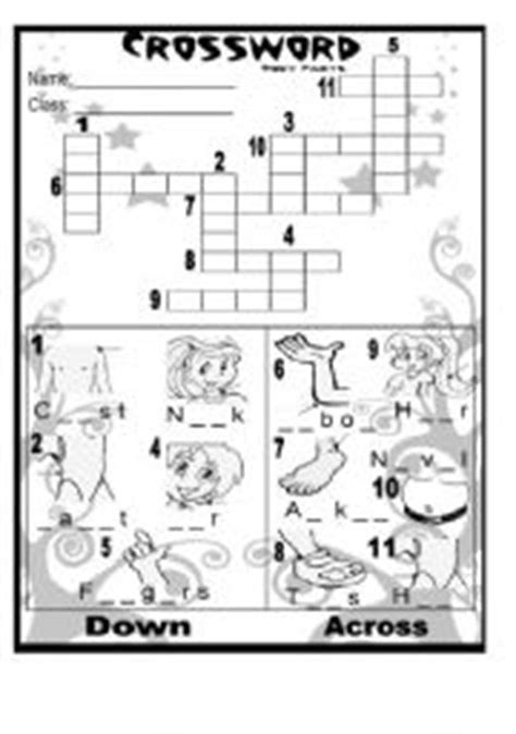 printable puzzles body parts english worksheets body parts crossword