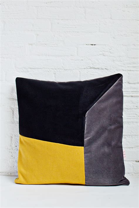 Handcrafted Cushions - handmade cushion cover mustard grey black shop