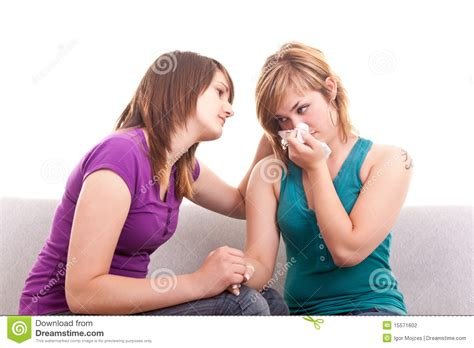 how to comfort a girl girl comforting her sad friend stock photography image