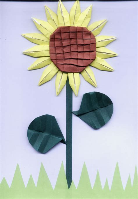 Origami Sunflower - origami sunflower by junia on deviantart