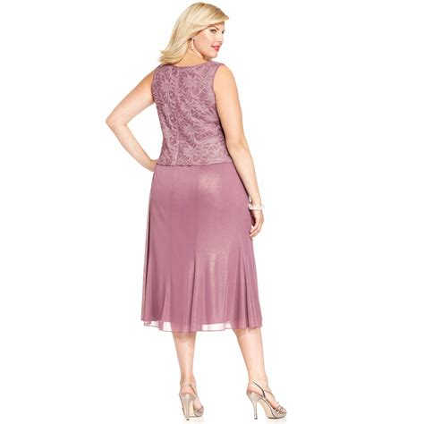 Alona Dress Lavender Flh lyst alex evenings plus size shimmer lace dress and jacket in pink