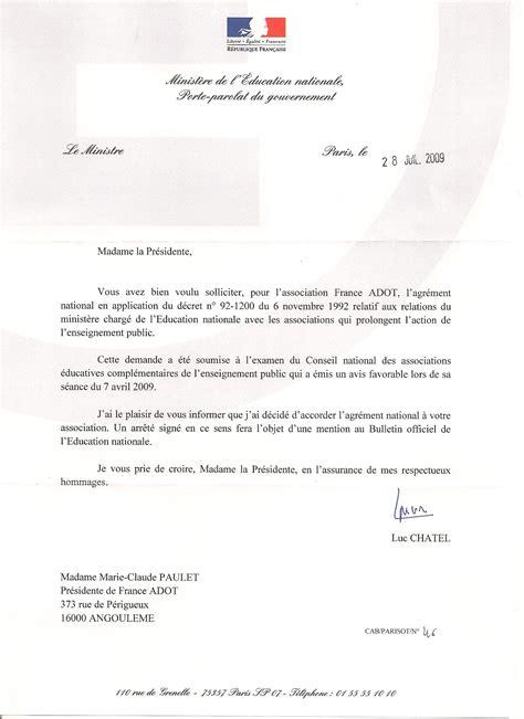 Présentation Lettre Avec Pièce Jointe Adot Re 231 Oit L Agr 233 Ment De L Education Nationale Adot