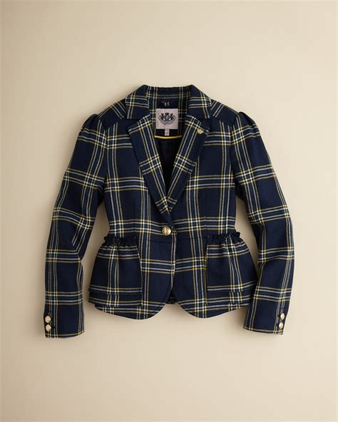 Who Wore It Better Couture Plaid Ruffle Coat by Couture Eton Plaid Ruffle Blazer Sizes 6 14