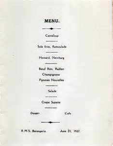 vintage private dinner party menu r m s berengaria 1927