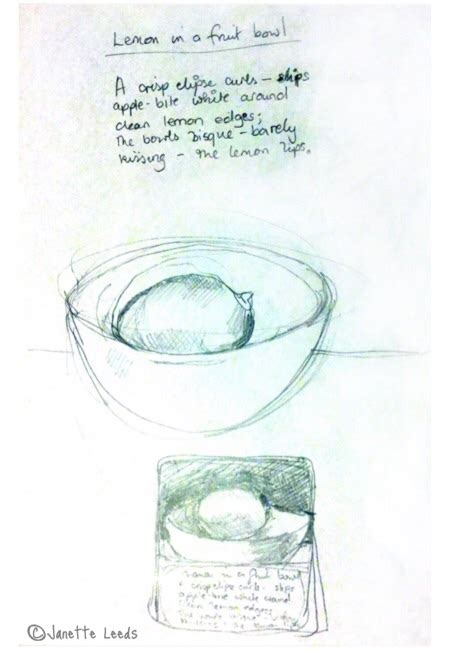 poem sketches lemon in a bowl oil pastel drawing and a poem janette