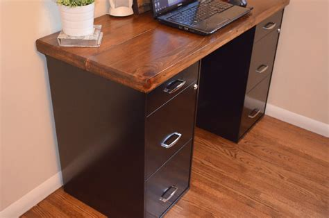 desk with file cabinets an inviting home a diy desk