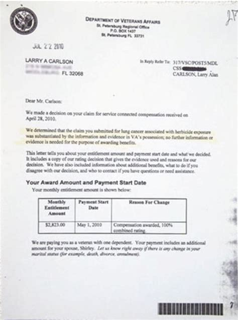 Award Letter From Disability Va Disability Compensation Award Letter Best Business