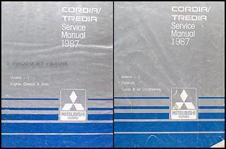 free service manuals online 1987 mitsubishi tredia on board diagnostic system 1987 mitsubishi cordia tredia repair shop manual set original