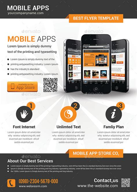 Mobile App Flyer Template By Afjamaal Graphicriver Free Flyer Design Templates App