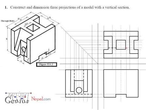 sectional orthographic engineering drawing orthographic view projection tutorial