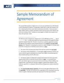 Sample Memorandum Of Agreement Template Memorandum Of Agreement Sample