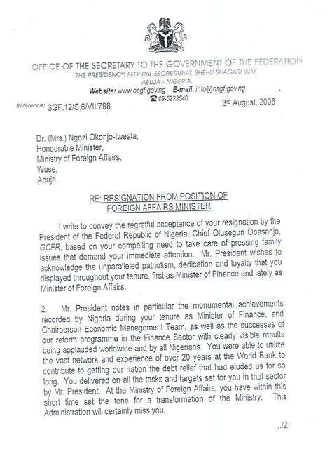 Resignation Letter Reply by Fgn S Response To Dr Okonjo Iweala S Resignation