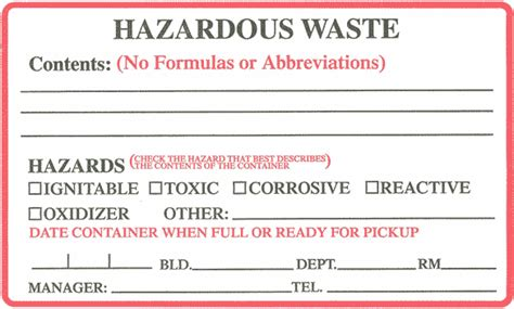 Container Labeling Office Of Environmental Health And Safety Clark University Free Hazardous Waste Label Template