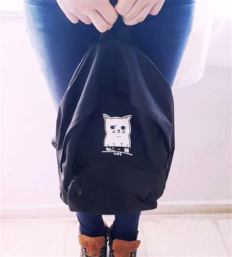 Tas Ransel Kanvas Lp09 Motif 01 Tas Wanita Tas Anak Tas Fashion tas ransel wanita motif kucing black jakartanotebook