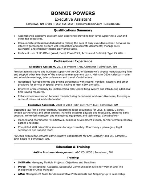 resume exles personal assistant copy executive