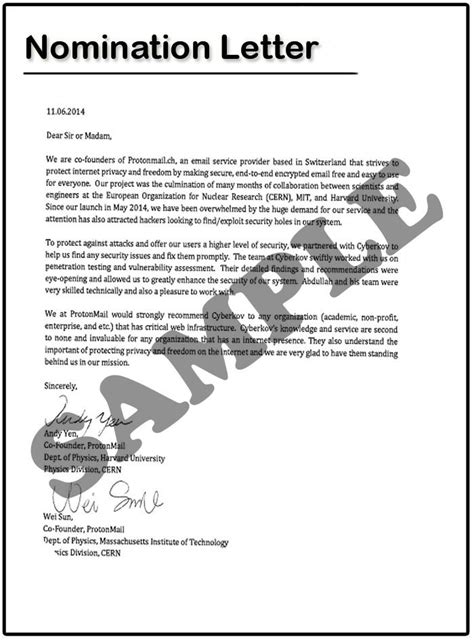 nomination certificate template nomination letter sle the best letter sle
