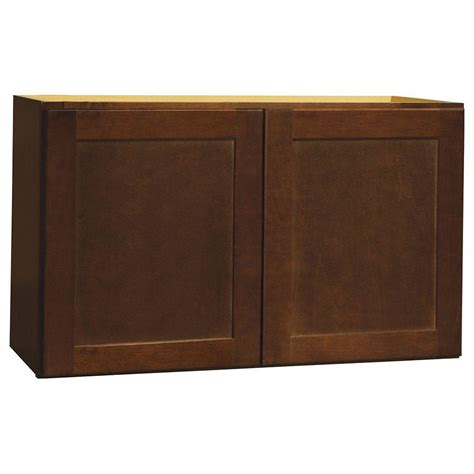 home depot cognac cabinets hton bay shaker assembled 30x18x12 in wall bridge
