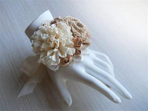 Handmade Wrist Corsage - rustic burlap sola flower wrist corsage handmade for