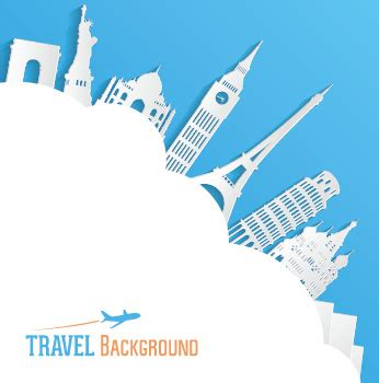 tourism powerpoint template classic buildings with travel background vector free