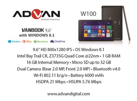 Tablet Advan W80 Dan W100 advan tantang pasar gadget indonesia dengan tablet windows