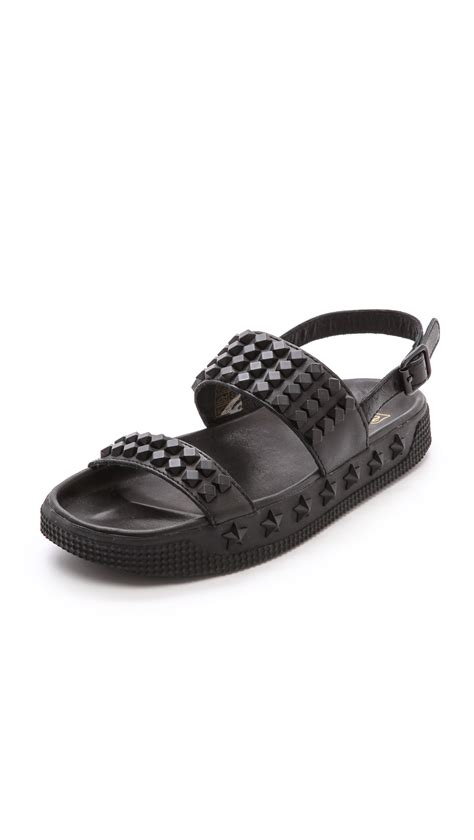 studded flat shoes ash karma studded flat sandals brasil black in black