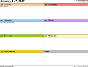printable weekly calendar template weekly calendar 2017 for pdf 12 free printable templates