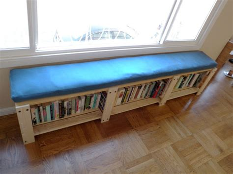 bookshelf into bench ikea hack