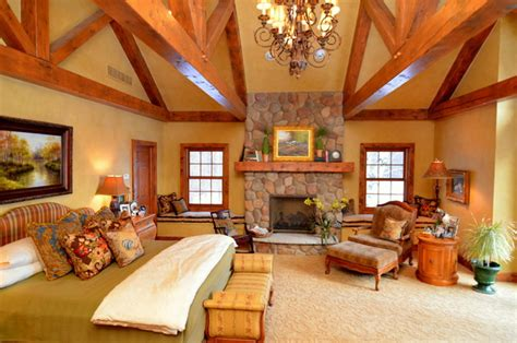 home to home suites log home master suite addition rustic bedroom