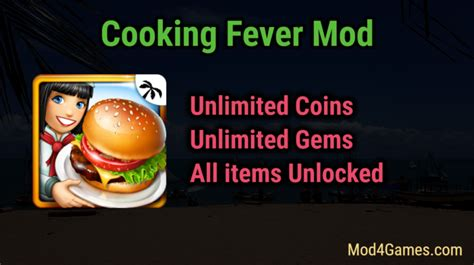 mod game cooking fever cooking fever mod unlimited coins gems all items