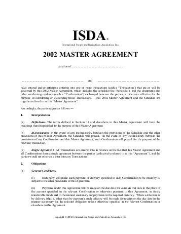 isda master agreement 2002 template isda master agreement 2002 template dated between 1