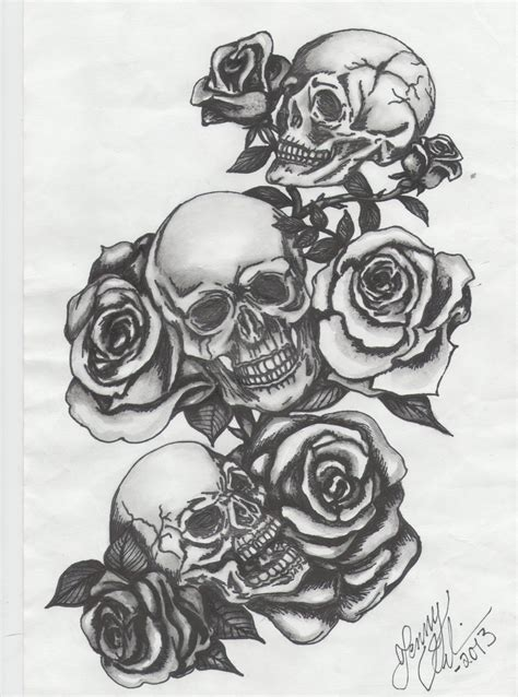 skull and roses sleeve tattoo designs three skulls with roses by blue deviantart on