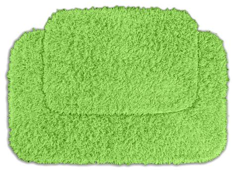 Lime Green Bathroom Rugs Quincy Shaggy Lime Green Washable Runner Bath Rug Set Of 2 Contemporary Rugs By
