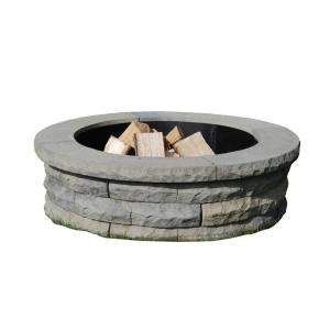 pit ring kit nantucket pavers ledgestone 47 in concrete pit ring kit gray variegated 72002 the home depot
