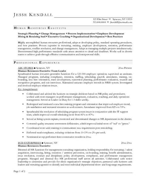 hr executive exle resume human resources executive resume sles resume